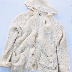 COZY CASUAL WHITE CREAM SHERPA CARDIGAN JACKET